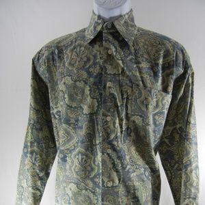 Alan Flusser Green/Blue Paisley Print Medium LS